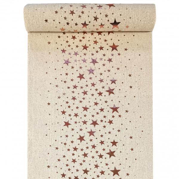 Tischläufer Sterne 28 cm x 3 m - natur & roségold