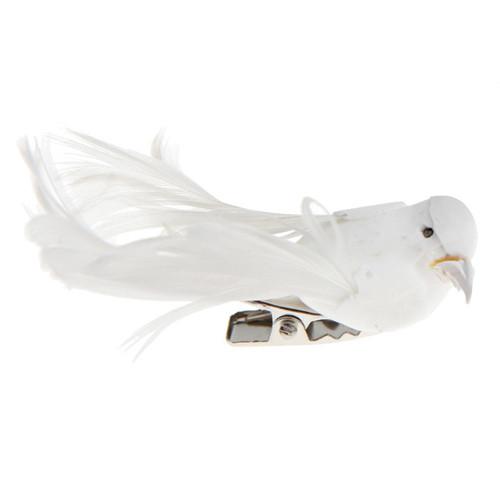 Deko-Vögel mit Clip (4 Stück), klein - weiß