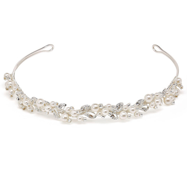 Diadem mit Perlen, Blättern, Glasperlen und Strasssteinen, creme
