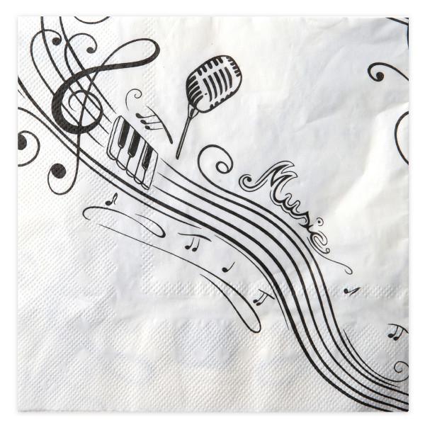 Servietten Musik (20 Stück) - weiß & schwarz