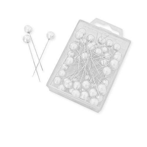 Perlkopf Dekonadeln Weiß 10 mm 50 Stück