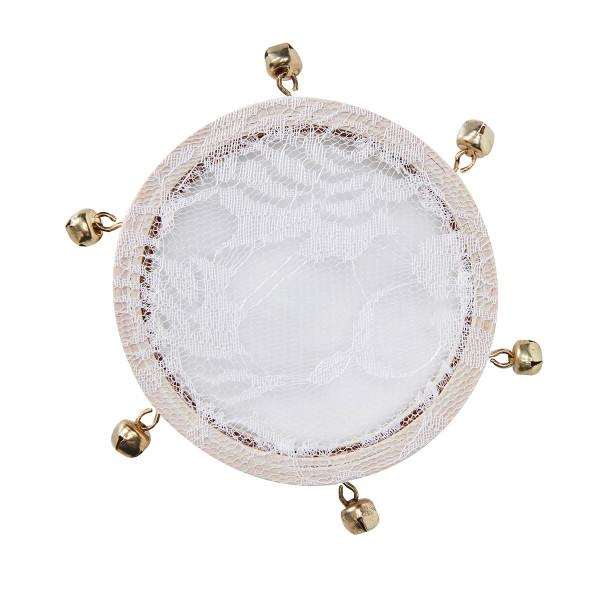 Mini-Tamburin mit Spitze & Glöckchen - creme (5 Stück)