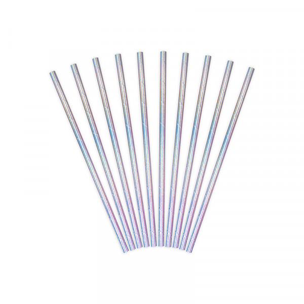Strohhalme / Trinkhalme Holografisch (10 Stück) - silber