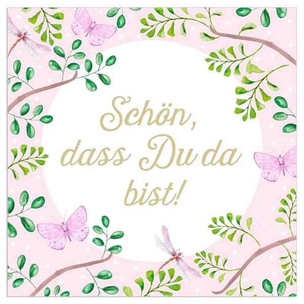 Servietten 'Zweige' Schön, dass du da bist! (20 Stück) - rosa
