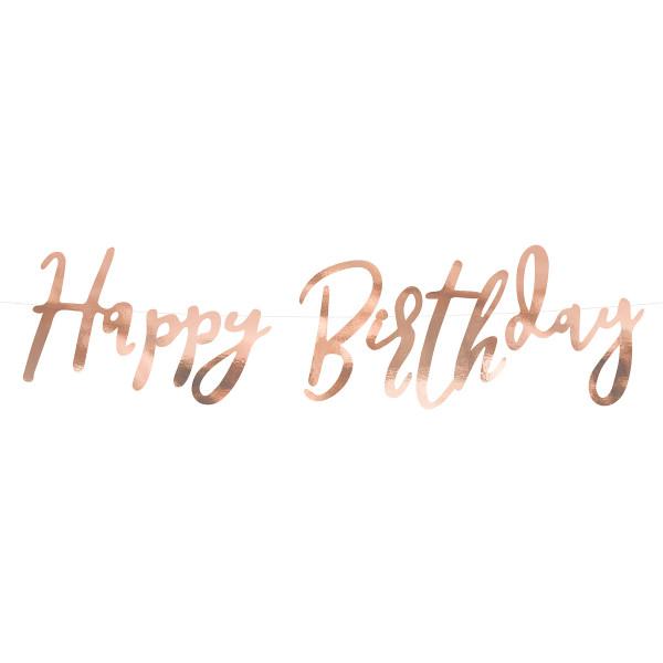 Girlande Happy Birthday 62 cm - roségold