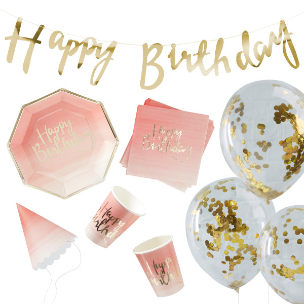 Dekorationsset 'Happy Birthday' - rosa ombre & gold