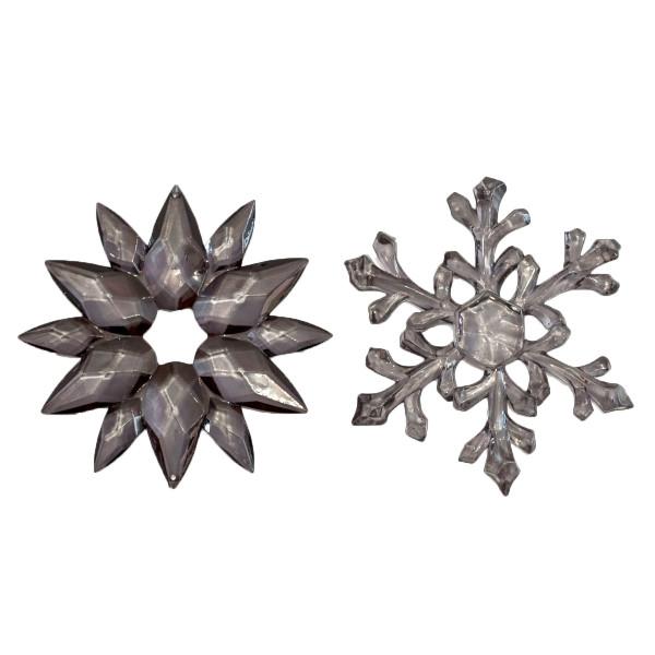 Hänger Eiskristalle Schneeflocke 11 cm (2 Stück) - anthrazit