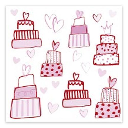 Servietten 'Torten' (20 Stück) - weiß & pink