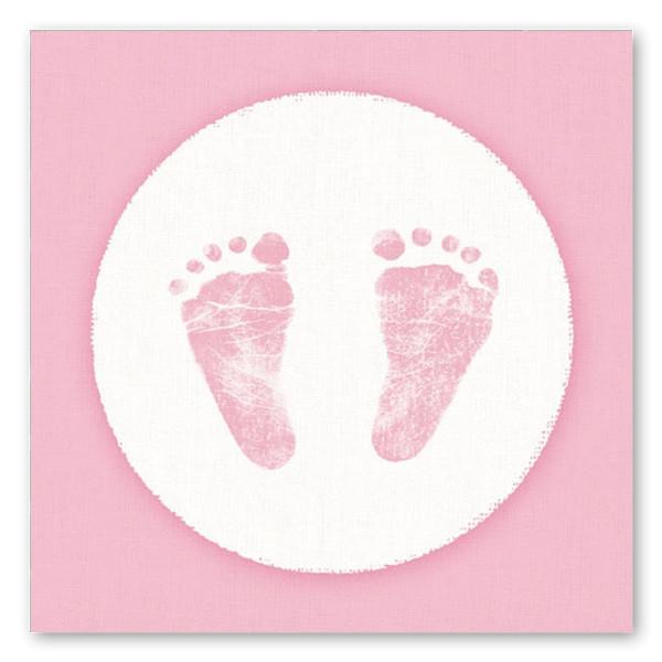 Servietten Babyfüße Fußabdruck (20 Stück) - rosa