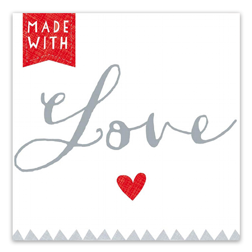Servietten Made with Love (20 Stück) rot & grau