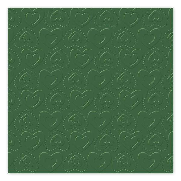 Servietten Herzen geprägt (16 Stück) - grün