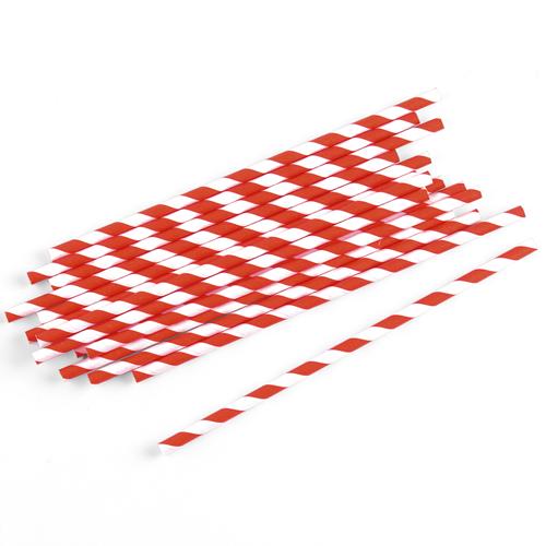 Strohhalme / Trinkhalme gestreift (75 Stück) - rot