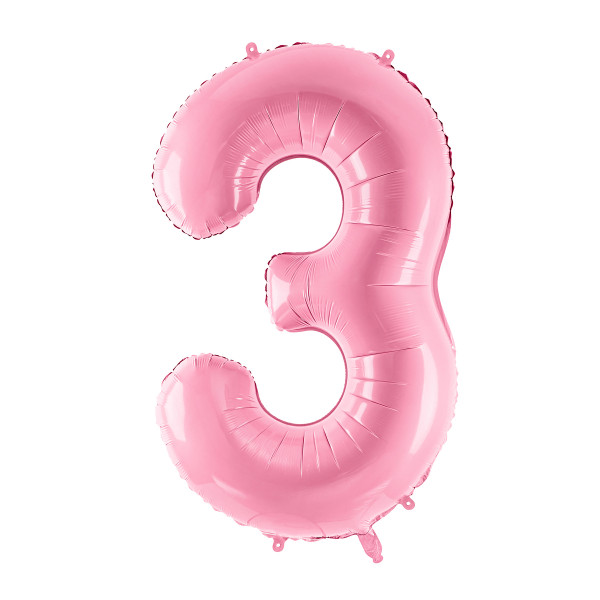 Folienballon '3' 86 cm - rosa