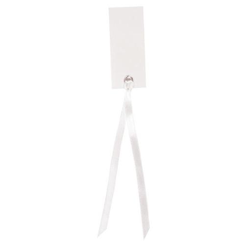 Tischkärtchen mit Satinband (12 Stück) - weiß