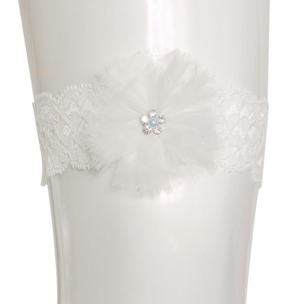 Strumpfband aus Spitze mit Blüte, Strass & Perlen - creme