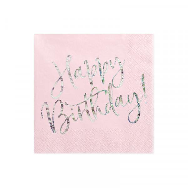 Servietten Happy Birthday (20 Stück) rosa & holografisch