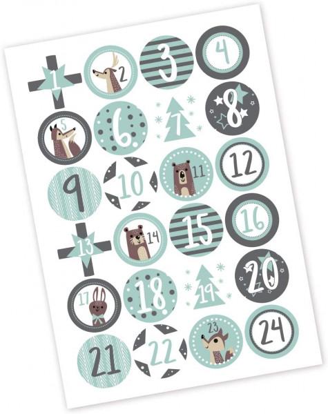 Adventsaufkleber / Sticker 'Forest' - mint & grau