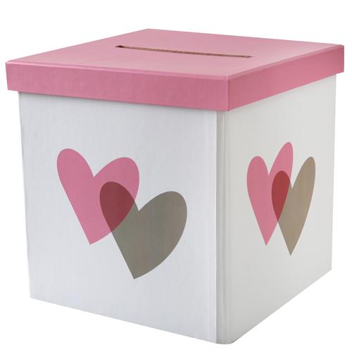 Briefbox / Geschenkbox 'Herzen' 20 x 20 cm - rosa