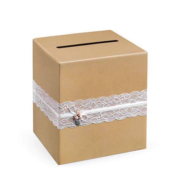 Briefbox / Geschenkbox Kraftpapier mit Spitze 24 cm