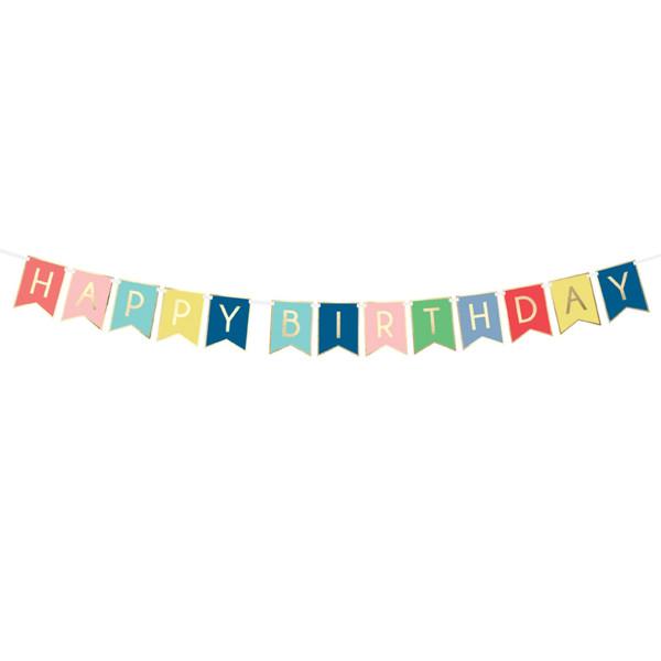 Girlande Happy Birthday 175 cm - bunt & gold