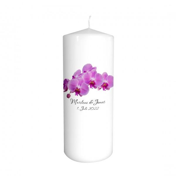 Hochzeitskerze Orchideen lila