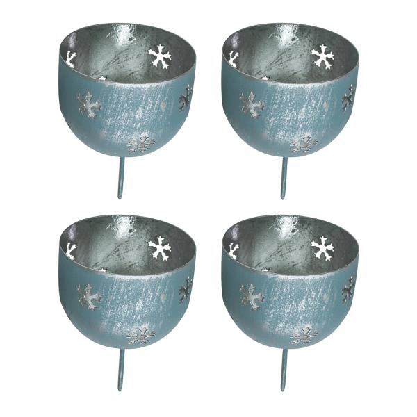 Windlichtstecker / Adventsstecker 'Schneeflocke' (4 Stück) - eisblau