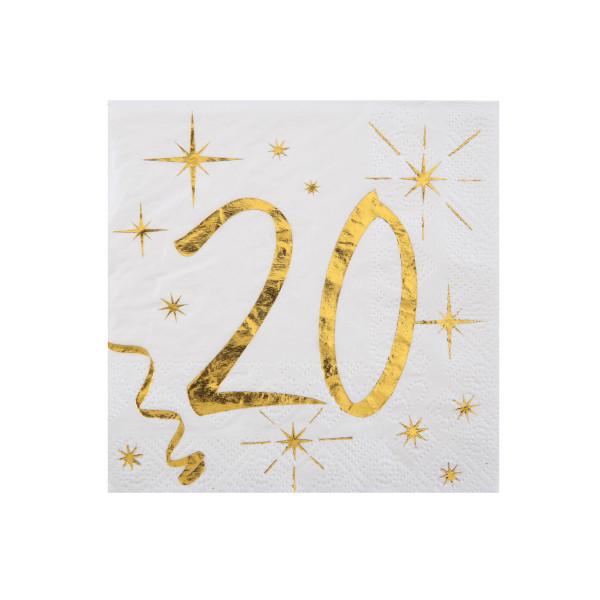 Cocktail Servietten 20. Geburtstag - weiß & gold