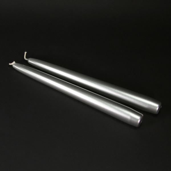 Spitzkerzen (2 Stück) - silber