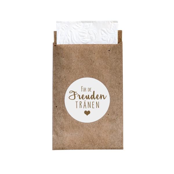 24 Flachbeutel & 24 Sticker 'Freudentränen' (kraft/weiß)