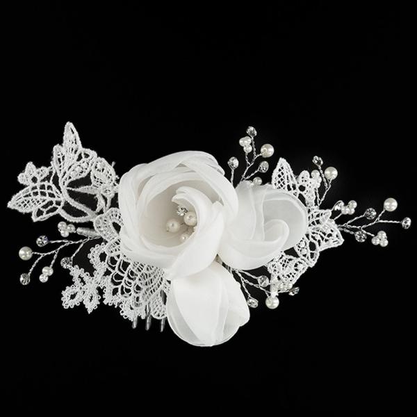 Haarkamm 'Vintage Rose' mit Spitze, Strass und Perlen