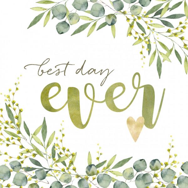 Servietten Best Day Ever (20 Stück) - grün & gold