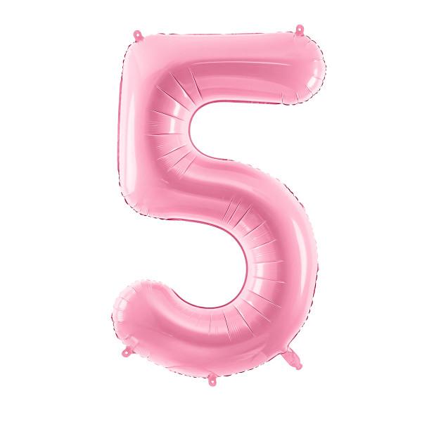 Folienballon '5' 86 cm - rosa