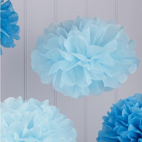 Pom Poms (5 Stück) - blau Mix