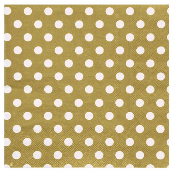 Servietten Dots / Punkte (20 Stück) - gold