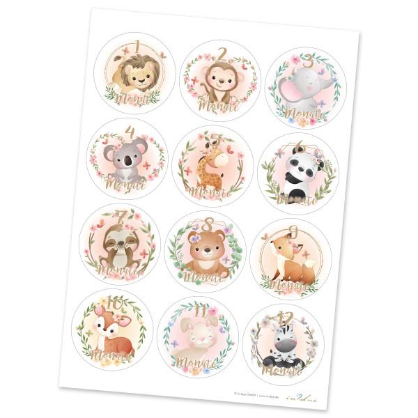 12 Aufkleber / Sticker Meilenstein 'Tiere Aquarell'