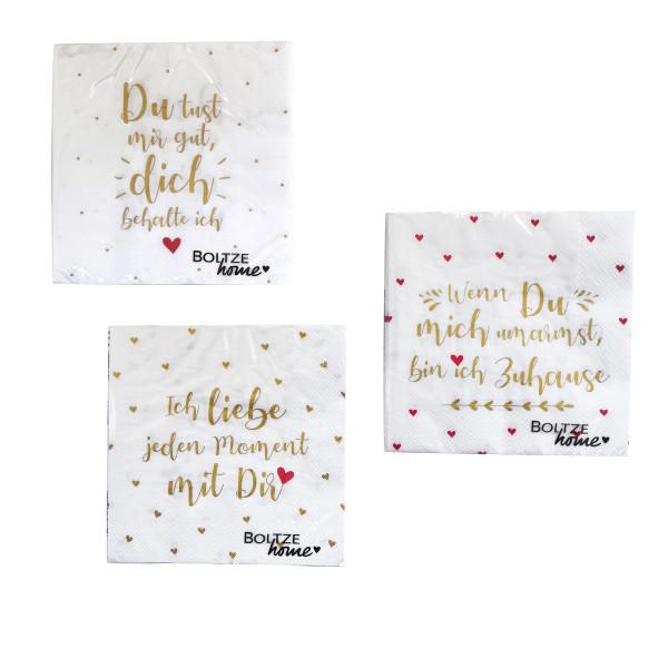 3 x 20 Servietten 'Liebe' - weiß, gold & rot