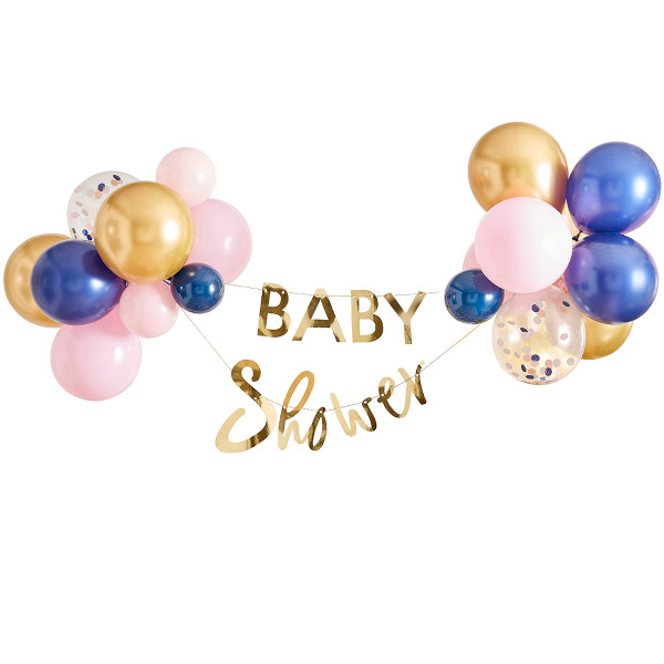 Gender Reveal Baby Shower Girlande mit 28 Ballons