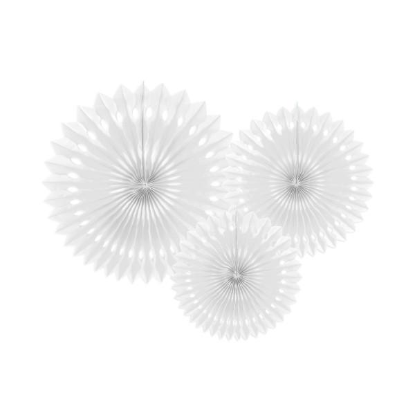 Dekofächer / Dekorosetten 3-teilig - weiß