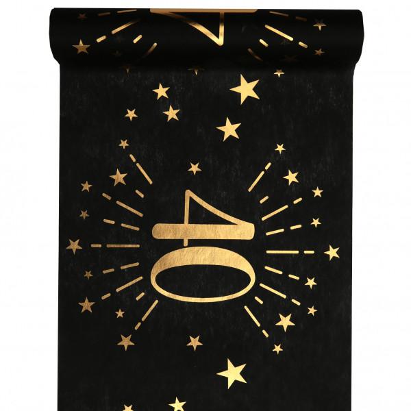 Tischläufer 40. Geburtstag - schwarz & gold