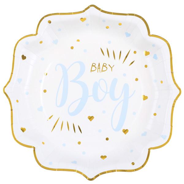Teller 'Baby Boy' (10 Stück) - weiß, gold & hellblau