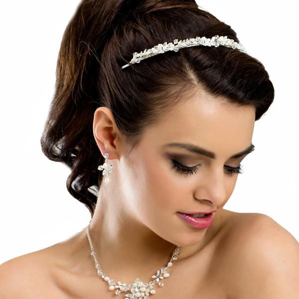Diadem mit Perlen, Strass & Glasperlen