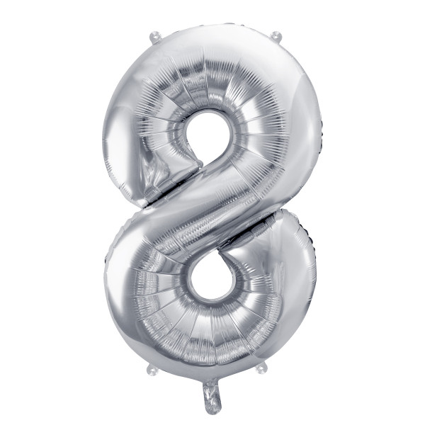Folienballon '8' 86 cm - silber