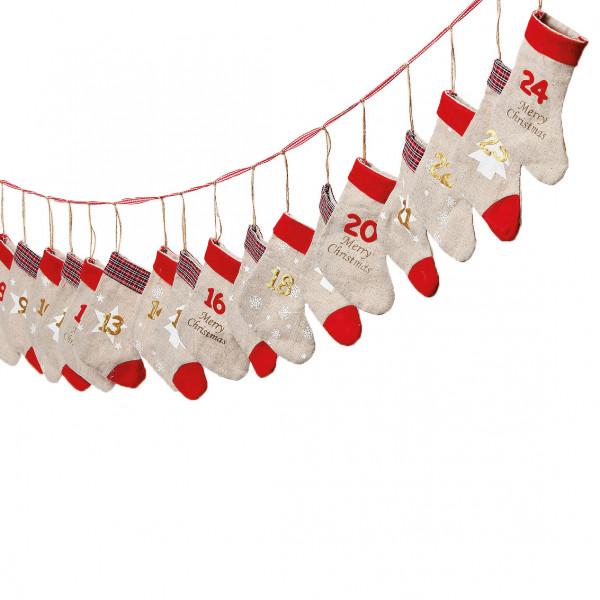 Adventskalender zum Befüllen 'Socken' Leinen - rot & gold