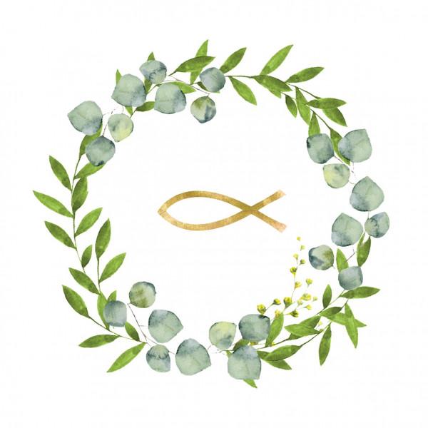 Servietten Fisch / Ichthy (20 Stück) - grün & gold