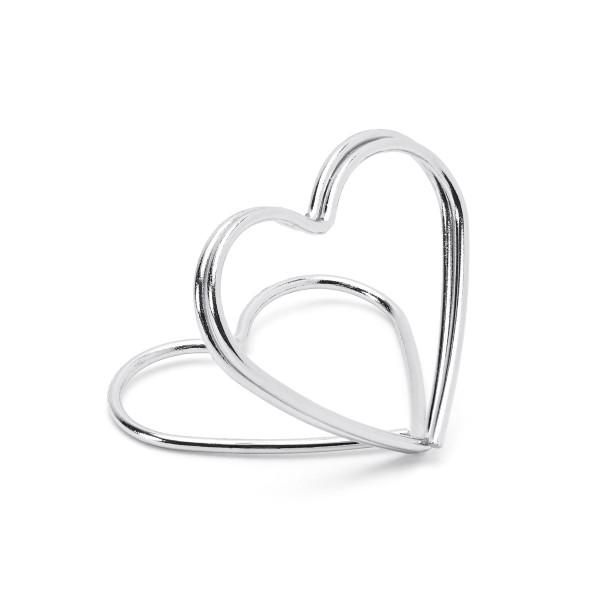Tischkartenhalter 'Herz' (10 Stück) - silber