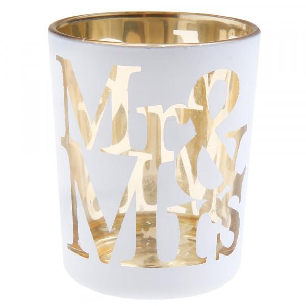 Windlicht Mr & Mrs (2 Stück) - weiß & gold