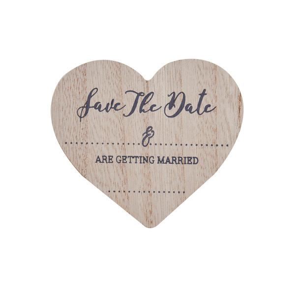 Save the Date Magnete (10 Stück) - Holzherzen zum Selberbeschriften
