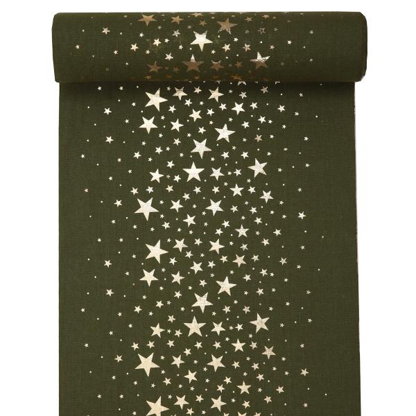 Tischläufer Sterne 28 cm x 3 m - grün & gold