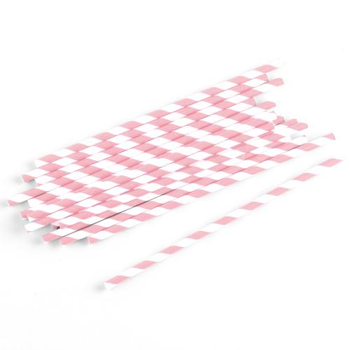 Strohhalme / Trinkhalme gestreift (75 Stück) - rosa