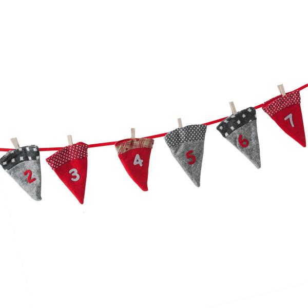 Adventskalender zum Befüllen 'Filzhut' 260 cm - rot & grau